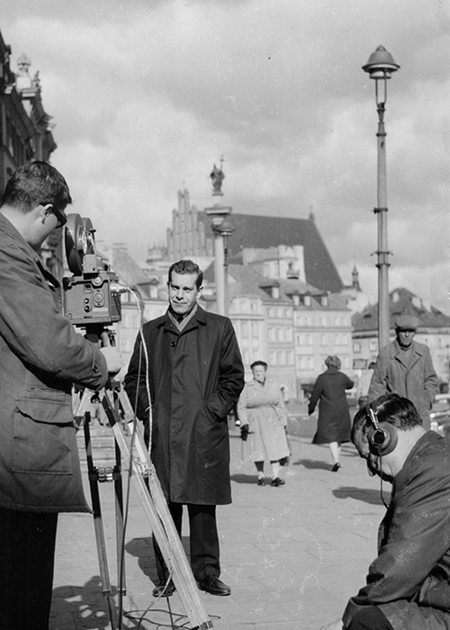 Morley Safer on location in Warsaw, Poland.